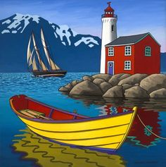 Canada ~ Graham Herbert ~ Sailing Home Pictures To Paint, Art Pictures, Landscape Art, Landscape Paintings, Folk Art Paintings, Lighthouse Painting, Boat Art, Naive Art, Whimsical Art