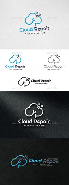 Cloud Repair Logo by martinjamez Logo Features100% Vector Color Variations : Gradient, Flat, Greyscale