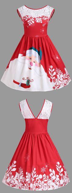 Wholesale Christmas Lace Insert Santa Claus Print Party Dress L Red Online. Cheap Floral Print Wrap Dress And Floral Print Sheath Dress on Rosewholesale.com