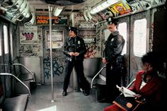 Cops in the train, the Bronx, NYC Subway, 1981 - by Martha Cooper (1940), USA