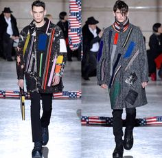 Raf Simons 2014-2015 Fall Autumn Winter Mens Runway Looks Fashion - Paris Fashion Week Mode à Paris Masculine Défilés - Artwork Abstract Paint Splatters Knit Patchwork Turtleneck Sweater Jumper Oversized Trench Coat Peacoat Overcoat Topcoat Bomber Jacket Camouflage Stripes Multi-Panel Geometric