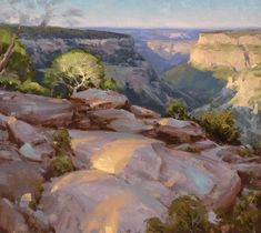 How to paint in oils trees mountains and rocks. John Burton paintings, oil painter. California landscape artist.