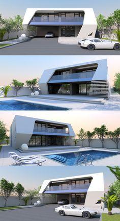 250m2, 3 bed / bath concept home from Bespoke-Homes.com Home Design Plans, Plan Design, Contemporary House Plans, Concept Home, Bespoke, Modern Design, Bath, Inspiration, Taylormade