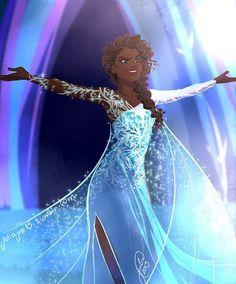 Ideas For Dress Princess Disney Elsa Snow Queen Art Black Love, Black Girl Art, Black Is Beautiful, Black Girl Magic, Snow Queen, Ice Queen, Big Hero 6, Disney Fan Art, Disney Love