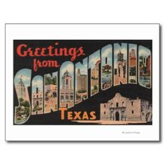 San Antonio, Texas - Large Letter Scenes Postcards