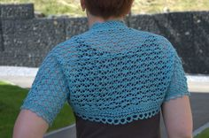 Ravelry: Lacy little Thing bolero pattern by Zsuzsa Kiss This is a sweet little nothing bolero, light as air.  It starts in the middle of the back with provisional cast on and has a lace border all the way around. An ideal and attractive addition to your summer wardrobe!