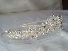 handmade swarovski wedding tiara clear crystals & ivory pearls