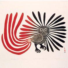 By Kenojuak Ashevak (1927-2013), 1960, The Enchanted Owl, stonecut, Canadian Inuit.