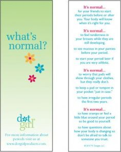 Free Bookmarks for schools and non profits.  Educate girls about menstruation.