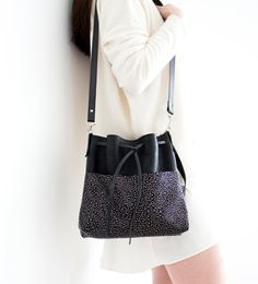 Leather Bags – Black Leather Bucket bag, Glitter Shoulder Bag – a unique product by gmaloudesigns on DaWanda