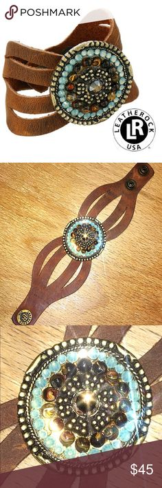 Leatherock(TM) B715 cuff concho leather bracelet Super cute cuff with a western flair. Dress up your boho look with a little bling and beautiful coco colored leather. Made by LEATHERROCK! MADE IN USA! A GREAT COMPANY. Rugged snap built to last.       Adjustable snap closure.  Measurements:  Width: 1 1/5 in  Diameter/Length: 8 1/2 in leatherrock Jewelry Bracelets