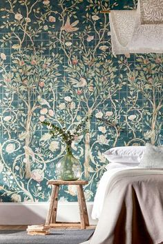 A beautiful Morris wallpaper mural richly detailed with cordoned fruit trees, trailing roses and birds in a stunning elegant design. An amazing choice for a bedroom. Hallway Wallpaper, Bathroom Wallpaper, Home Wallpaper, Wallpaper Murals, Bird Wallpaper Bedroom, Wallpaper Ideas, Bedroom Wallpaper Designs, Royal Wallpaper, William Morris Wallpaper
