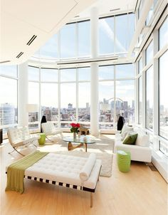 Luxury Duplex Penthouse With Contemporary Living Room Interior In New York  City.