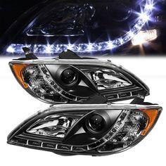 04-08 Mazda 3 Sedan 4-Door LED DRL Projector Headlights - Black