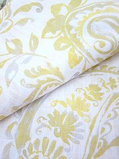 Tahari Home Paisley Scrolls Window Panels 52 by 96-inch Set of 2 Floral Paisley Scrolls Window Curtains Hidden Tabs Yellow Gray White