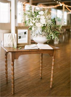 wedding welcome table ideas - I love this vintage guestbook table with white floral arrangement Wedding Entry Table, Wedding Welcome Table, Wedding Table Decorations, Wedding Guest Book, French Industrial, Industrial Wedding, Rustic Wedding, Wedding Ideas, Vintage Outdoor Weddings
