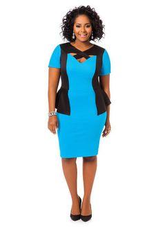 Ashley Stewart Textured Colorblock Peplum Dress