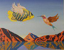 """Obra """" O Encontro"""" de Patrícia Amato , Acrílica sobre Tela. 90x70cm"""