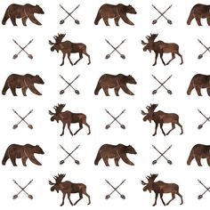 Moose Bears and Arrows in Rustic Brown Quilting by JacksonsWovens Woodland Fabric, Canadian Wildlife, Arrows, Monochrome, Bears, Camper, Organic Cotton, Moose Art, Craft Projects