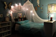 A canopy is great for adding a whimsical flair to a bedroom