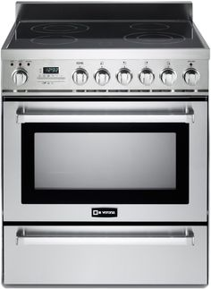 "Verona VEFSIE304PSS 30""Electric Freestanding Range with 4 Burners Smooth Cooktop"