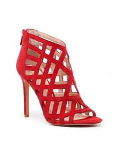 Red caged high heeled sandals