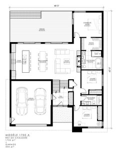 Family House Plans, Cottage House Plans, Small House Plans, House Floor Plans, Shipping Container Home Designs, Container House Design, Casa Loft, Architectural Floor Plans, Floor Layout