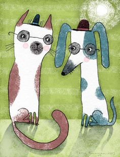 cute cat and dog painting