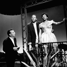 American opera singer Leontyne Price with husband, William Warfield singing a duet on a TV program in the 1960s