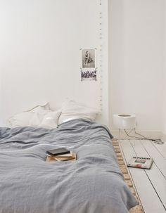 white, light gray and wood for bedroom