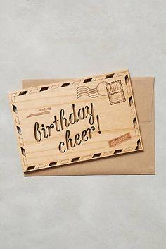Wooden Birthday Cheer Card