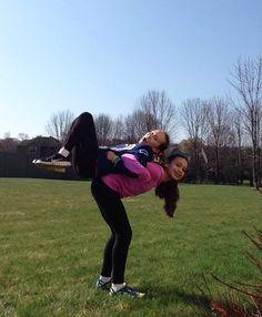 2 person acro stuntwith my bestie  stunts  pinterest