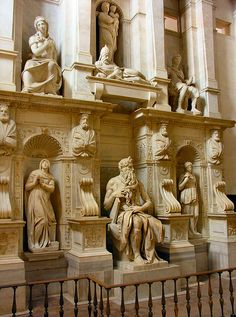 Another achievement in my traveling life... I have seen Michaelangelo's work (here, his Moses in San Pietro in Vincoli) in person, and sneaked a touch of another of his sculptures in a different church in Rome.  What a master!