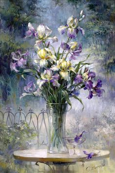 Floral by artist Vjugovey Rimma. Iris Painting, Oil Painting Flowers, Watercolor Flowers, Painting & Drawing, Watercolor Paintings, Art Floral, Images D'art, Art Pictures, Flower Art