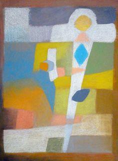 Oelkreidezeichnung von Sisi Bolliger, 1916-2010. Sie hat ihre Arbeiten nie publiziert oder ausgestellt. Die kleinen Farbstiftzeichnungen sind zu sehen auf www.aussenseiterk...