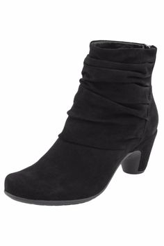 Soft suede bootie with slouchy detailing features leather lined foam cushioning that offers arch support and comfort throughout the day. Back zipper allows easy on-and-off wear.     Earthies Vicenza Bootie by Earthies. Shoes - Booties - Heeled Pennsylvania