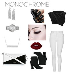 """""""Black and white and cute"""" by kaila-cordova ❤ liked on Polyvore featuring Topshop, Proenza Schouler, E L L E R Y, MICHAEL Michael Kors, BillyTheTree, Marni, Lime Crime and monochrome"""