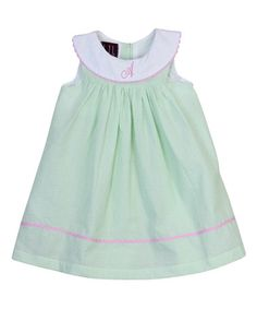 Another great find on #zulily! Mint Green & White Personalized Tank Dress - Infant & Toddler #zulilyfinds