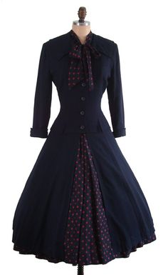 Reserved for Juliet9520- Vintage 1950's 50's Navy Blue and Red Polka Dots Silk New Look Full Cocktail Party Holiday Dress with Matching Princess Swing Coat