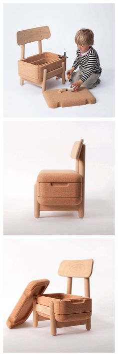 Oak Oak, kid's chair with storage
