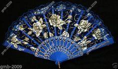 Victorian Lace Fabric Folding Hand Fan Rose Design Lady's Wedding Favor Blue New | eBay