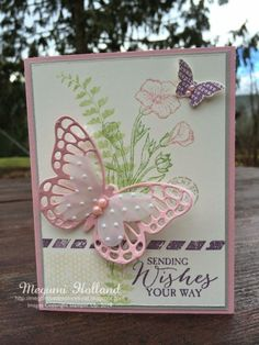 Megumi's Stampin Retreat, Stampin' Up! Butterfly Basics Stamp Set, Stampin' Up! Butterflies Thinlits Dies by Patricia Mora