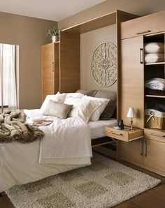 wooden murphy wall unit beds hardware for small space saver/ LOVING THIS!