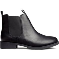 H&M Chelsea boots (50 CAD) ❤ liked on Polyvore featuring shoes, boots, ankle booties, botas, sapatos, black, rubber sole boots, h&m boots, black boots and chelsea bootie