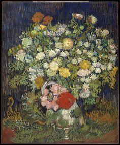 "Bouquet of Flowers in a Vase ~ artist Vincent van Gogh, c.1890; oil on canvas, 25 5/8"" x 21 1/4"". Metropolitan Museum of Art, New York, New York"