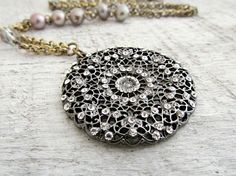 Rhinestone Pendant Gray Pearl Necklace Rhinestone Necklace Mixed Metal Necklace Rustic Statement Wedding Black - Harper by laurenblythedesigns