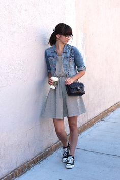black Chanel purse - ivory thrifted dress - sky blue H&M jacket