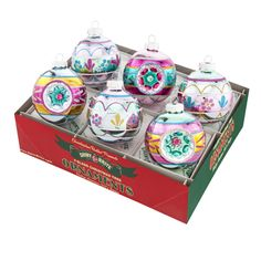 Vintage Celebration Decorated Rounds with Reflectors Ornament Set
