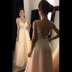 Beaded V Neck Champagne Long Prom Dress