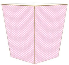 Pink Polka Dot Decoupage Wastebasket and Optional Tissue Box